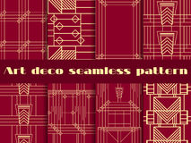Art deco seamless patterns. Art deco geometric seamless pattern. Set retro  backgrounds Royalty Free Stock Photography