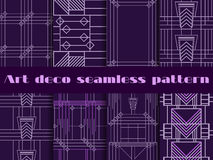 Art deco seamless patterns. Art deco geometric seamless pattern. Set retro  backgrounds. Style 1920's, 1930's Stock Images