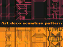 Art deco seamless patterns. Art deco geometric seamless pattern. Set retro  backgrounds. Style 1920's, 1930's. Vector illustration Royalty Free Stock Photography