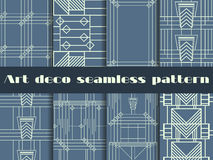 Art deco seamless patterns. Art deco geometric seamless pattern. Set retro  backgrounds. Style 1920s, 1930s. Vector. Illustration Stock Images