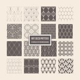 Art Deco Seamless Patterns, 16 Geometrical Backgrounds for design, cover, textile, decoration stock illustration