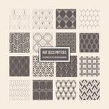 Art Deco Seamless Patterns, 16 Geometrische Achtergronden voor ontwerp, dekking, textiel, decoratie Stock Afbeelding