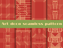 Art deco seamless patterns. The pattern of lines and geometric shapes. Set retro backgrounds. Style 1920s, 1930s. Vector illustration Stock Photos