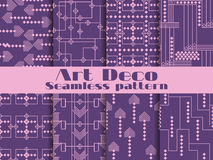Art deco seamless patterns. Purple color. Set retro backgrounds. Style 1920`s, 1930`s. Vector. Illustration Royalty Free Stock Image