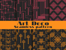 Art deco seamless patterns. Set retro backgrounds. Style 1920`s, 1930`s. Vector. Illustration Royalty Free Stock Photography