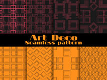 Art deco seamless patterns. Set retro backgrounds. Style 1920`s, 1930`s. Vector. Illustration Stock Photography