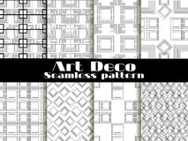Art deco seamless patterns. Set retro backgrounds. Style 1920`s, 1930`s. Vector. Illustration Stock Images