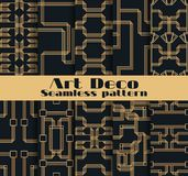 Art deco seamless patterns. Set of ten geometric backgrounds. Style 1920`s, 1930`s. Vector. Illustration Royalty Free Stock Images