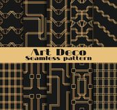 Art deco seamless patterns. Set of ten geometric backgrounds. Style 1920`s, 1930`s. Vector. Illustration Royalty Free Stock Photo