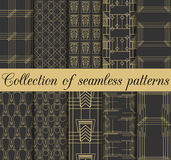 Art deco seamless patterns. Set of ten geometric backgrounds. Style 1920's, 1930's. Vector illustration Royalty Free Stock Photos