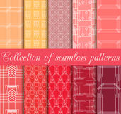 Art deco seamless patterns. Set of ten geometric backgrounds. Style 1920's, 1930's. Stock Photos