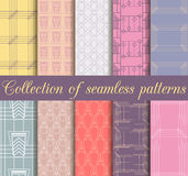 Art deco seamless patterns. Set of ten geometric backgrounds. Style 1920's, 1930's. Vector illustration Royalty Free Stock Images