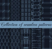 Art deco seamless patterns. Set of ten geometric backgrounds. Style 1920's, 1930's. Vector illustration Stock Photo