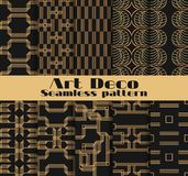 Art deco seamless patterns. Set of ten geometric backgrounds. Style 1920`s, 1930`s. Vector. Illustration Stock Photo
