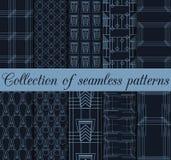 Art deco seamless patterns. Set of ten geometric backgrounds. Style 1920's, 1930's. Stock Photo