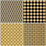 Art Deco seamless vintage wallpaper patterns vector set Royalty Free Stock Images