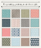 Art deco semaless pattern set stock illustration