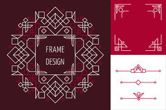 Art deco set frame abstract geometry mono line Royalty Free Stock Photo