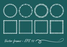 Art deco set of vintage circle and square frames. Eps 10 vector vector illustration