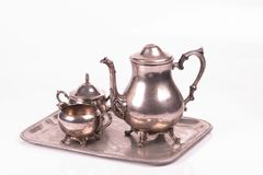 Free Art Deco Silver Sugar Bowl And Teapot On A Tray Stock Images - 107022784