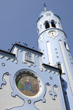 The art-deco St. Elisabeth (Blue) church in Bratislava. The mosaic with st. Elisabeth and tower of art-deco St. Elisabeth (Blue) church in Bratislava, chosen for Royalty Free Stock Photos