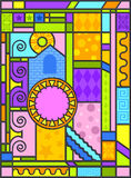 Art-deco stained glass art. A whimsical, geometric background made to look like an art-deco stained glass panel Royalty Free Stock Photos