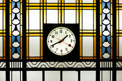 Art Deco Stained Glass With Clock Stock Image