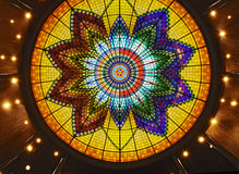 Art deco stained glass roof Stock Image
