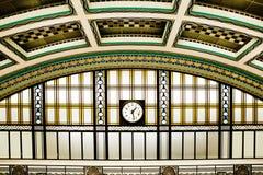 Art Deco Station Interior With Clock royalty free stock photos