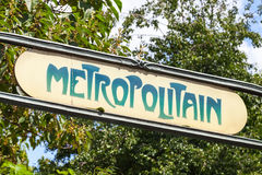 Art-Deco street sign at the entrance to the Paris Metro Royalty Free Stock Image