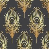 Art deco style geometric seamless pattern in black and gold. Vec. Tor illustration. Roaring 1920's design. Jazz era inspired . 20's. Vintage Fabric, textile Stock Photo