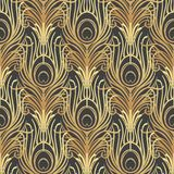 Art deco style geometric seamless pattern in black and gold. Vec. Tor illustration. Roaring 1920's design. Jazz era inspired . 20's. Vintage Fabric, textile Royalty Free Stock Photos