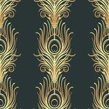 Art deco style geometric seamless pattern in black and gold. Vec. Tor illustration. Roaring 1920's design. Jazz era inspired . 20's. Vintage Fabric, textile Stock Photos