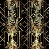 Art deco style geometric seamless pattern in black and gold. Vec stock illustration