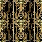 Art deco style geometric seamless pattern in black and gold. Vec. Tor illustration. Roaring 1920's design. Jazz era inspired . 20's. Vintage Fabric, textile Stock Image