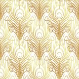 Art deco style geometric seamless pattern in black and gold. Vec. Tor illustration. Roaring 1920's design. Jazz era inspired . 20's. Vintage Fabric, textile Royalty Free Stock Photo