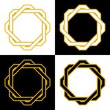 Art deco style geometric simple frames black white and golden set, vector. Templates Royalty Free Stock Photo