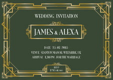 Art deco style invitation card Royalty Free Stock Image