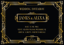 Art deco style invitation card Stock Photography