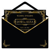 Art deco style invitation card Stock Photos