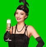 Art deco party girl on green screen background. Royalty Free Stock Images
