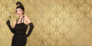 Art deco style party girl. royalty free stock photos