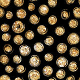 Art deco style. Polka dots, confetti. Seamless pattern with gold circles. Gold polka dot pattern.Festive circles on a black background.Abstract geometric modern Royalty Free Stock Photos