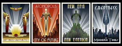 Art Deco Style Poster Set illustrazione di stock