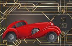 Art deco style red car. Vector illustration. Roaring Twenties. C. Lassic automobile, luxury vintage concept royalty free illustration