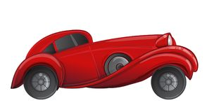 Art deco style red car. Vector illustration. Roaring Twenties. C. Lassic automobile, luxury vintage concept stock illustration