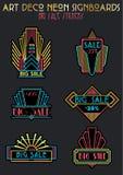Art Deco Style Sale Neon-Aufkleber eingestellt stockfotografie