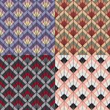 Art Deco style seamless pattern texture. Art Deco vintage retro style seamless pattern texture in four color variations Royalty Free Stock Image