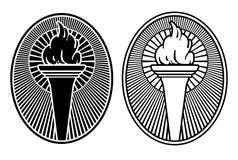 Art Deco Style torch design icon vector illustration