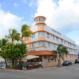 Art Deco Style Waldorf Towers in Miami Beach. Art Deco Style Building Waldorf Towers Hotel in Miami Beach in the morning, Miami, Florida, USA. Waldorf Towers stock image